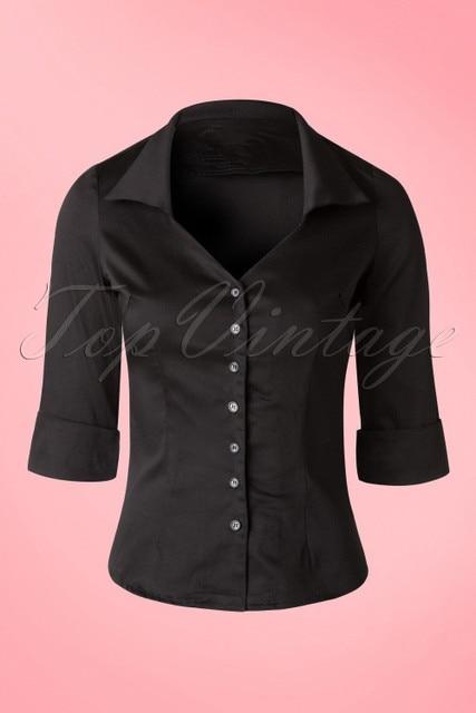 1f9f8bec9b9f3 30- women vintage 1950s black flattering 3 4 sleeve v neck fold over collar