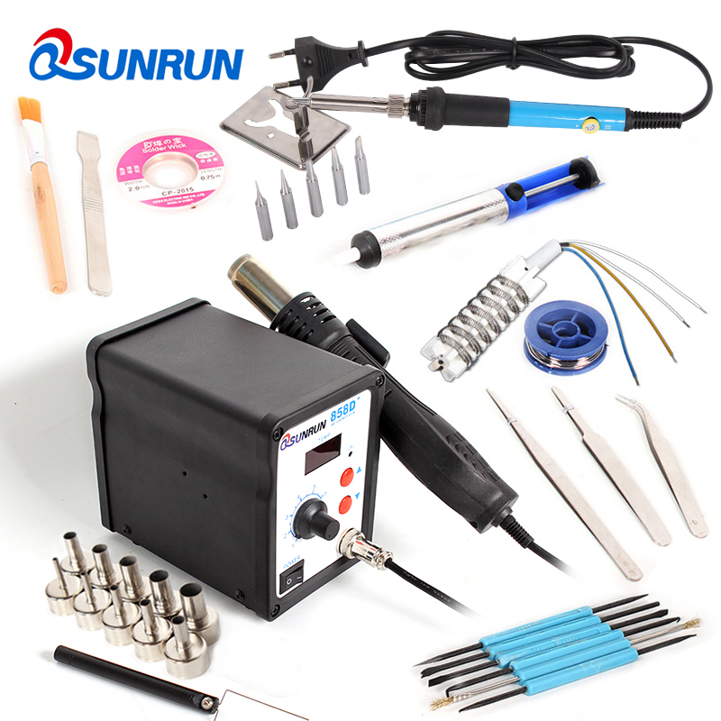 858D+ 110V/220V LED Digital ESD Soldering Station Hot Air Gun 700W Computer Phone Rework Station   Ultra-fast Heating