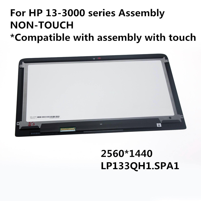 100% NEW (2560*1440) For HP Spectre 13-3000 Series LCD Display(LP133QH1.SPA1) NON-Touch Assembly 2013/2014