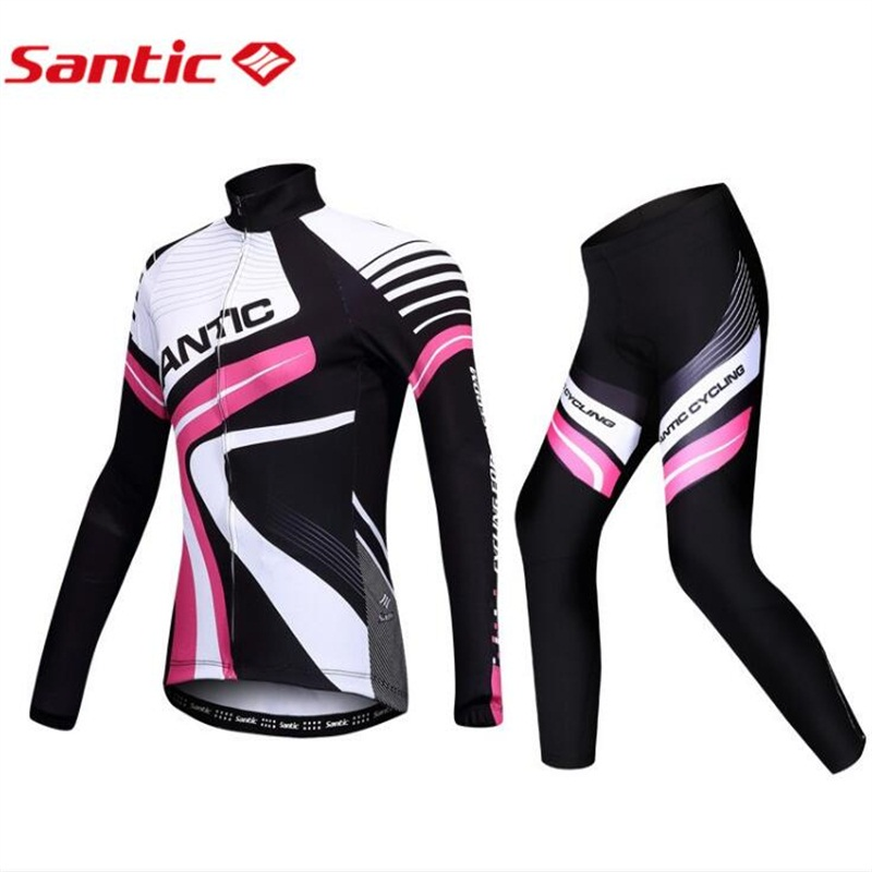 Santic Women Long Sleeve Cycling Jersey Sets Breathable 3D Padded Sportswear Mountain Bicycle Bike Apparel Cycling Clothing