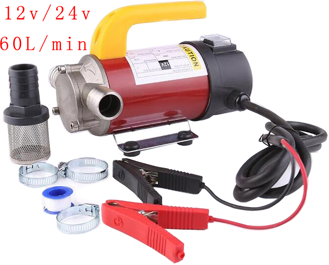 12v/24v 60L / min AC DC Electric automatic fuel transfer pump to pump Oil / Diesel / Kerosene / Small water auto refueling pump 12v high lift electric diesel oil pump fuel oil transfer oil metering pump unit with digital watches