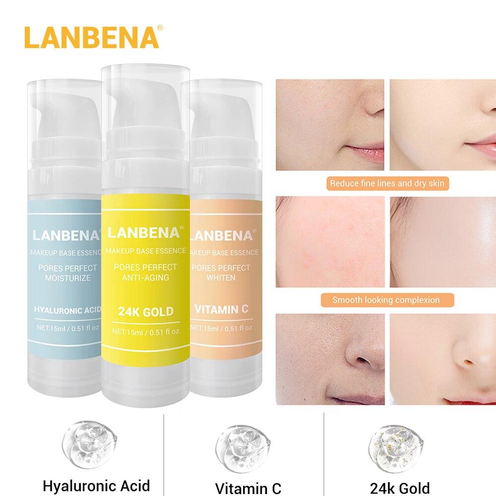 LANBENA 24K Gold Makeup Base Essence Primer Hyaluronic Acid VC Moisturizing Oil Control Make Up Smooth Face Foundation Gel