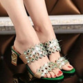 rhinestone decorative wedge soled shoes comfortable Western style high heeled slippers(4 to 9) in summer green/blue/pink