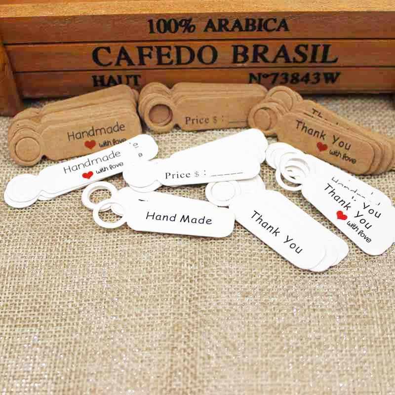 1.18 inch 100 cái kraft in giấy tay tag làm với tình yêu dành cho TỰ LÀM hộp Quà Tặng tag kẹo cupcake handmade ủng hộ tên tag thương hiệu