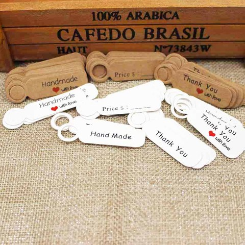 1.18inch 100pcs kraft print paper hand made tag with love for DIY Gift box tag candy cupcake handmade favors name brand tag Multan