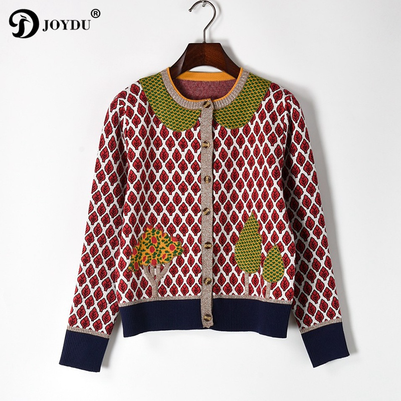 Cute 2017 Runway Cardigans Autumn Sweater for Women Luxury Designer Jacket Long Sleeve Leaves Trees Knitted Pattern Tops Female