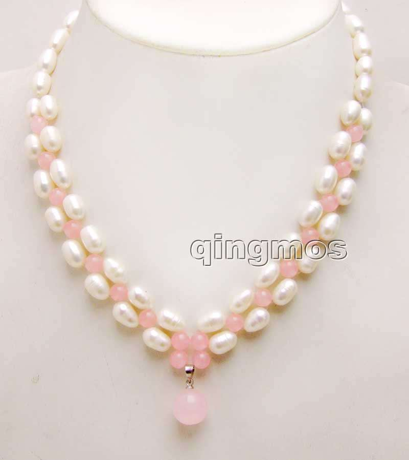 7-8mm White Rice Natural pearl and Pink beads With Big 12mm Pendant handwork Weaving 17 Necklace-nec6190