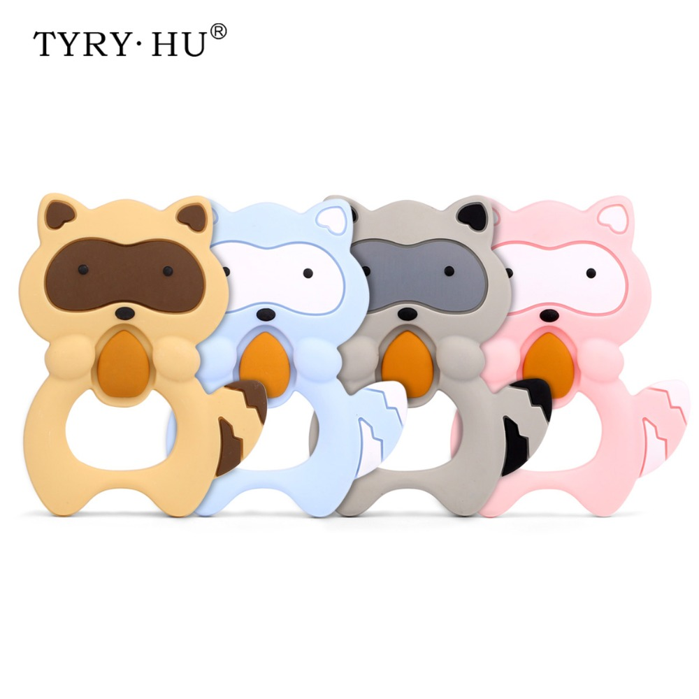 TYRY.HU 1 Pcs Raccoon Silicone Teether Baby Teething Toys Animal Shaped Comfort Chew Rubber Baby Shower Gift Food Grade Silicone
