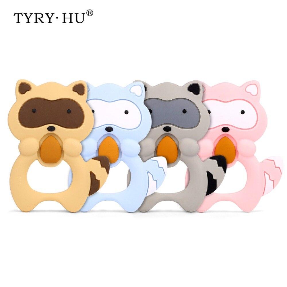 TYRY.HU 1 Pcs Raccoon Silicone Teether Baby Teething Toys Animal Shaped Comfort