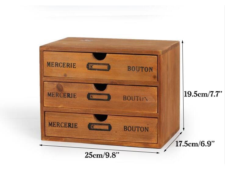 Rangement ménager organisation décoration bois boîte à cosmétiques Vintage en bois mallette de rangement tiroir maquillage boîte boîtes de rangement - 6