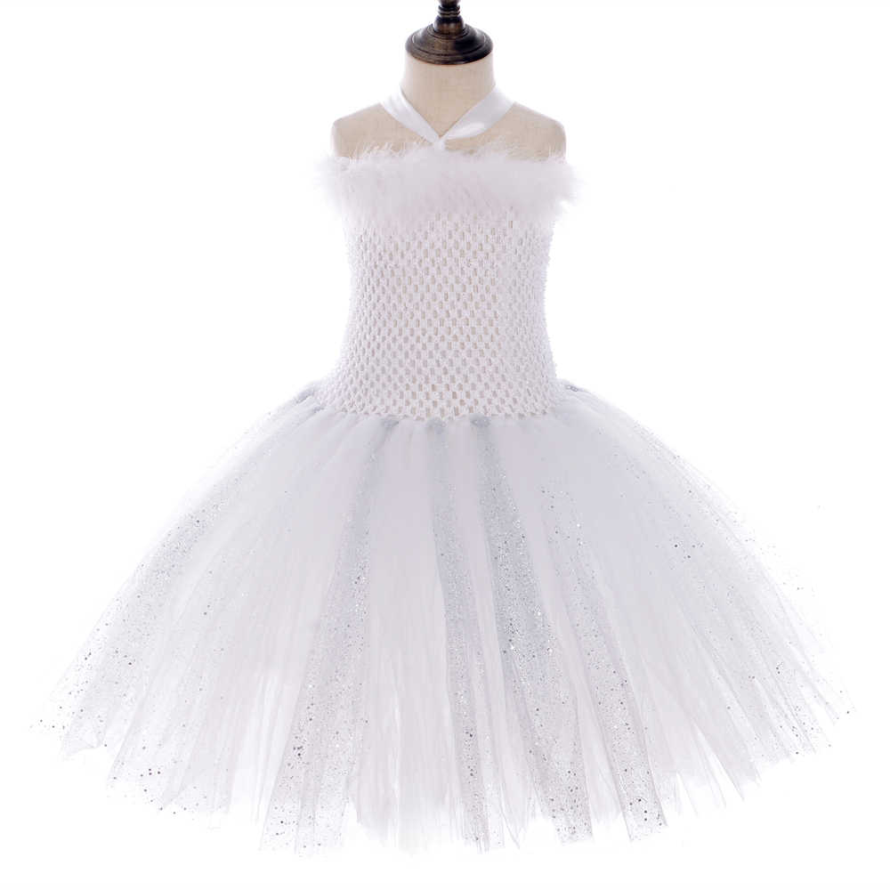 Sparkly Branco Puro Pena da Asa do Anjo Vestido Tutu Varinhas Outfits Crianças Fantasia Vestidos de Anjo Traje para As Meninas Roupas de Festa de Aniversário