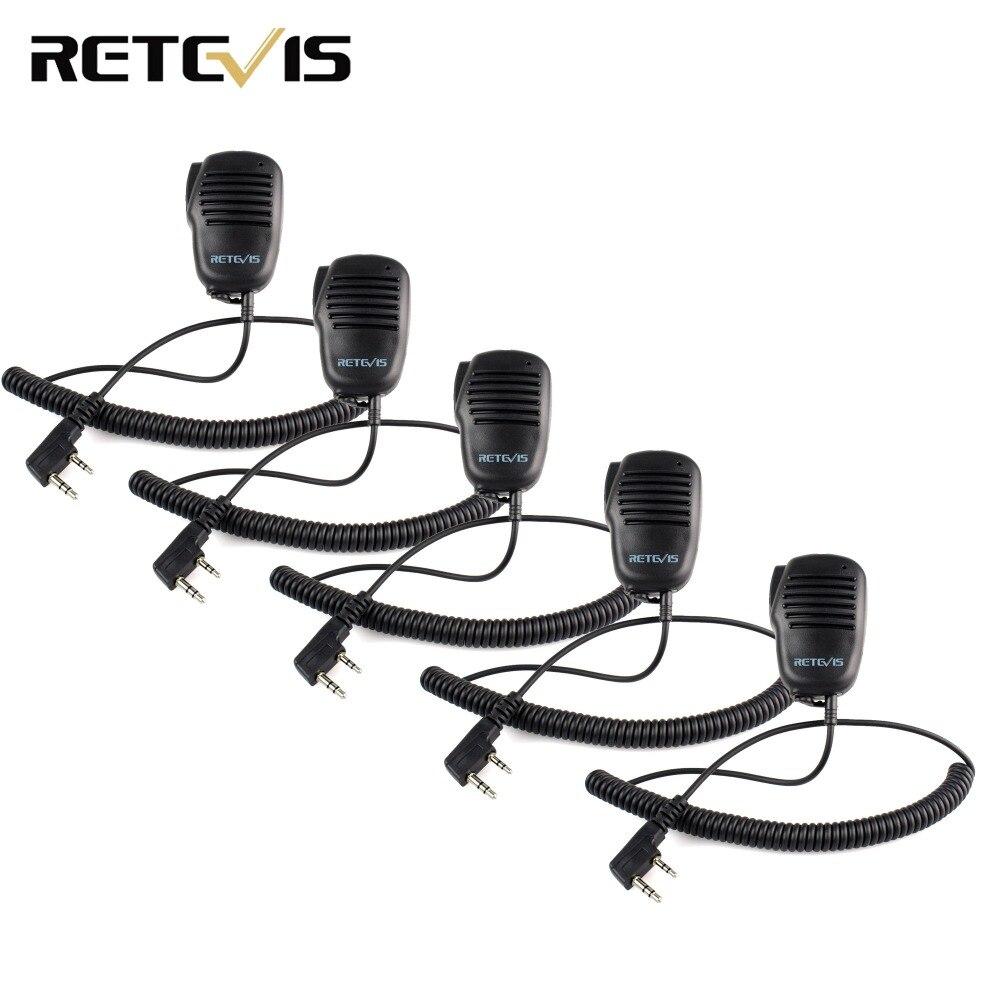5X Mini PTT Microfono Altoparlante Originale Retevis Nero Per Kenwood Walkie Talkie Per TYT TH Per Baofeng UV5R 888 s Radio RU Nave