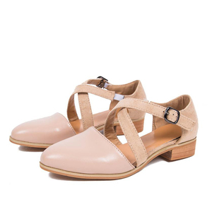 Image 3 - MCCKLE Women Pointed Toe Flock Cross Strap Pump Buckle Female Casual Solid     Footwear Comfortable Retro Ladies Shoes