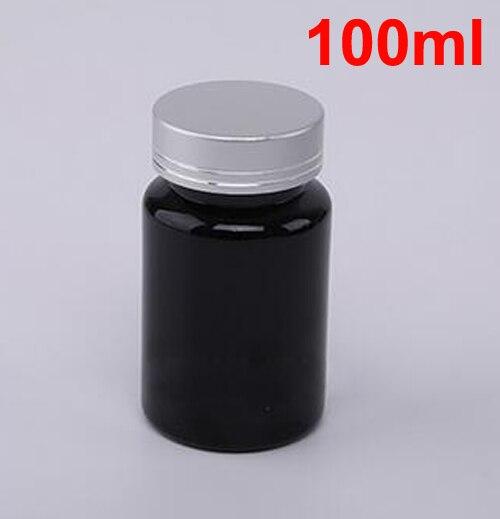 20 шт 100 мл ПЭТ толстые черные бутылки для таблеток Металлическая черная крышка, крышки sules бутылки, фармацевтическая пластиковая бутылка - Цвет: Matte Sliver Cap