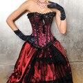 Rojo Hebilla De Acero Corsé de Las Mujeres Del Arco de Impresión Fold Sexy Plus Size Off Hombro Del Cordón De Largo Gótico Steampunk de Lentejuelas Cintura Trainer