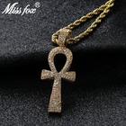 MISSFOX Hip Hop Iced Out Ankh Necklace Egyptian Jewelry Rock Style Full Bling AAA Cubic Zirconia Egypt Cross Pendant Rope Chain