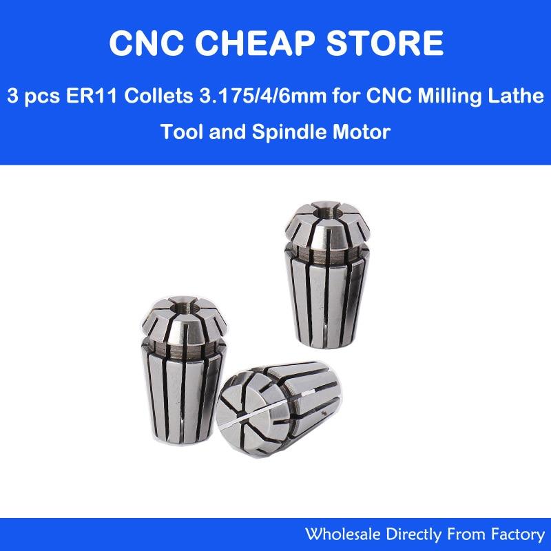 3pcs/lot ER11 Collet Chuck, ER11 Collet Pindle Lathe Tool Holder CNC Router Milling Engraving Tool 3.175mm, 4mm, 6mm