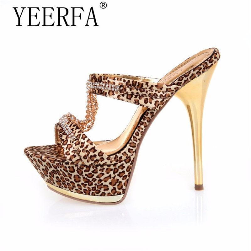 YIERFA 2017 summer style fashion leopard women sandals high heels sexy platform sandals female shoes slippers size 35-39 fashion tassels ornament leopard pattern flat shoes loafers shoes black leopard pair size 38