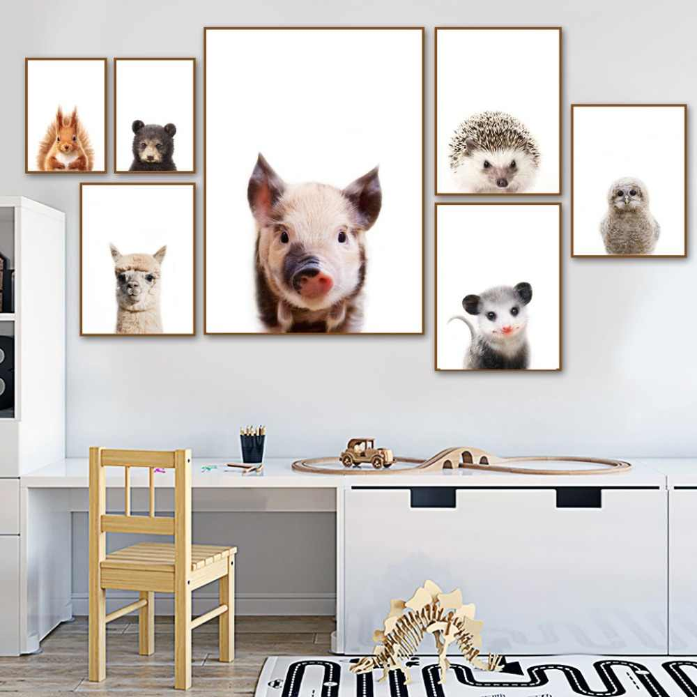 Bear Cow Squirrel Alpaca Mouse Pig Animals Nordic Posters And Prints Wall Art Canvas Painting Wall Pictures Baby Kids Room Decor