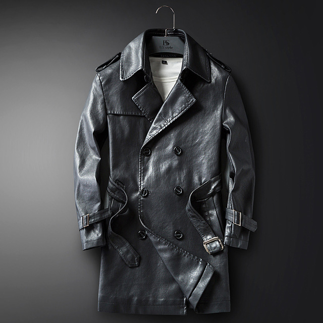 ce6aaa024 New men's leather trench coat medium and long winter motorcycle leather  coat men's lapel coat casual long leather coat
