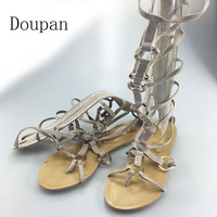 Doupan 2017 Women Sexy Lace Up Zip Flat Knee High Gladiator Sandals Summer Gold Bling Peep
