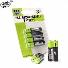 1.5 v volt aaa bateria de lítio li-íon, 4 unidades, recarregável micro usb aaa lítio polímero, células batteiros usb cabo carregador de carregador