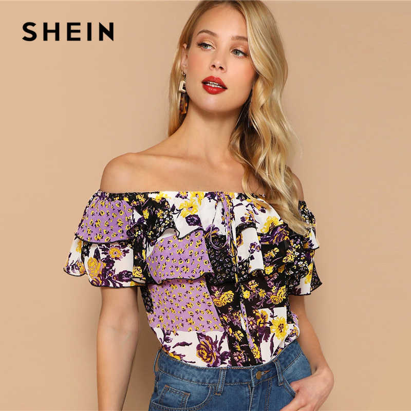 1bc80669c7 ... SHEIN Multicolor Off Shoulder Layered Foldover Colorblock Floral Blouse  Vacation Ruffle Drawstring Women 2019 Summer Beach ...