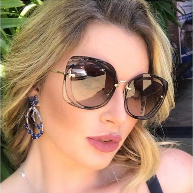 FEISHINI Celebridade Luxo Clássico Óculos óculos de Sol de Qualidade  Perfurado Feminino Designer de Marca Original Óculos de Sol Das Mulheres Do  Vintage e05a876b76