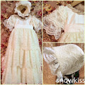2016 Baby Handmade Christening Gown with Bonnet Newborn Lace Long Dress Baptism Robe