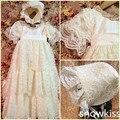 2016 Handmade Do Bebê vestido de Baptizado com Bonnet Newborn Lace Vestido Longo Batismo Robe