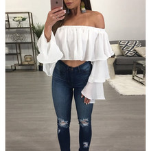 Off Shoulder Long Sleeve Blouses and Tops New Elegant Summer Frill Bardot Bubble Ruffles Shirt Women Blouse Crop Top(China)
