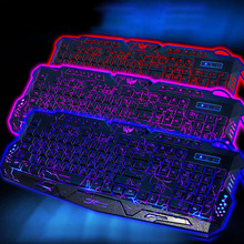 1pc Adjustable Crack Backlit LED Light Up Wired Gaming Keyboard USB 3 Colors #K400Y# DropShip