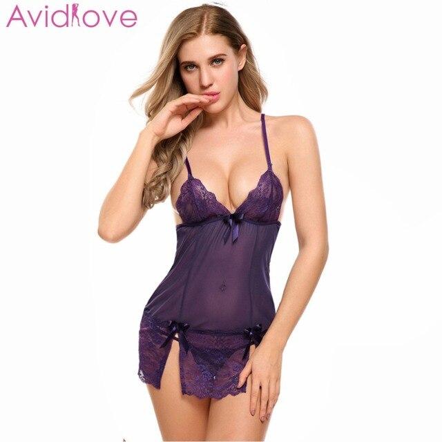 f203d7ba3fc9 € 6.73 44% de DESCUENTO|Avidlove lencería Sexy para mujer con cuello en V  erótica caliente ropa de dormir Sexy Plus tamaño ropa trajes Sexy fina ...
