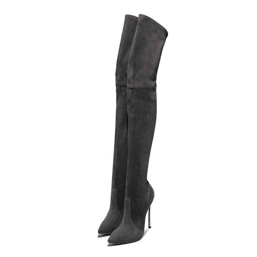 11 cm Stretch Oberschenkel Lange Stiefel Frau Über Knie Winter Schuhe High Heels Stiefel Frauen Schwarz Grau Faux Wildleder Leder stiefel Dame