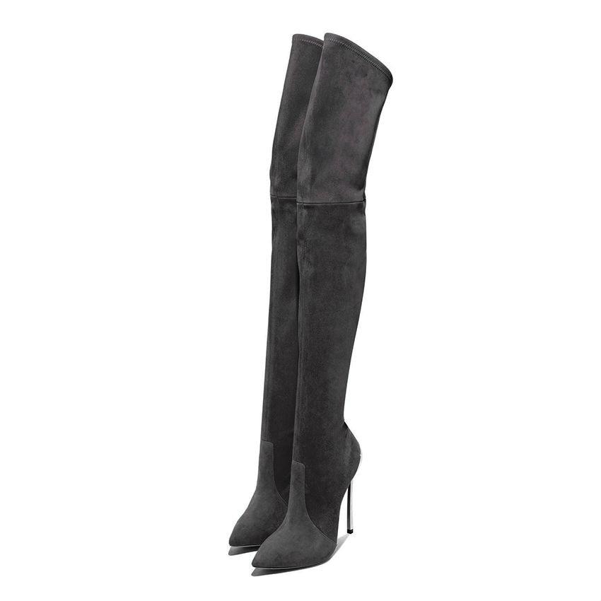 Cuero De Botas Altos Gris Largas gray Señora Cm Mujeres Zapatos Mujer Faux Jiubeixue Black Estiramiento Negro Jiubeixue Tacones Muslo Rodilla Sobre Invierno Suede 11 StxUTPw