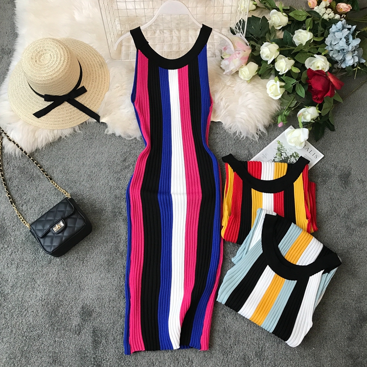 ALPHALMODA Summer 2019 New Round Neck Rainbow Vertical Striped Women Vintage Sexy Knit Dress Sleeveless Pullovers Ladies Vestido 23
