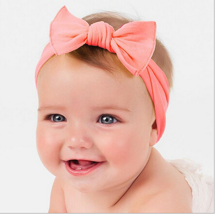 2018 New Cotton Elastic Newborn Baby Girls Solid Color Headband Knot Hair Band Children Knot Rabbit Ear Headband Bandeau Bebe