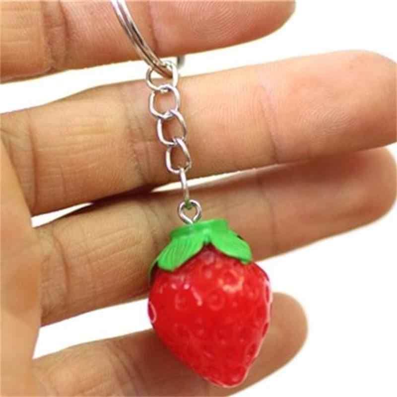 1 pieza llavero de fruta pequeño llavero de fresa lindo llavero para mujeres joyería niñas regalo niños amigos regalo