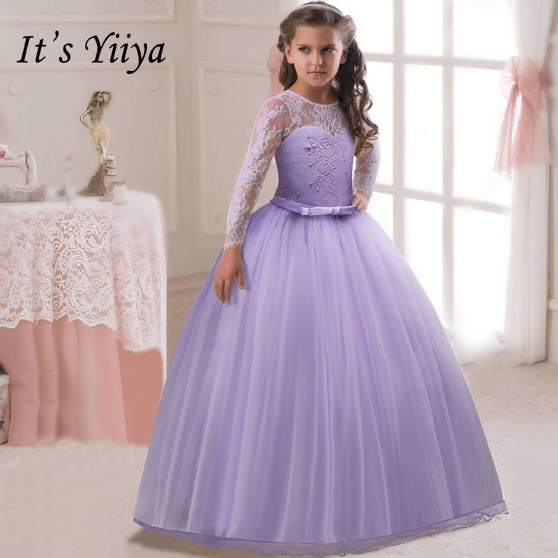 It's YiiYa   Flower     Girl     Dresses   8 Colors Full Sleeves Lace Floor Length   Girls   Pageant   Dresses   Vestidos De Noches Para Ninas 1022