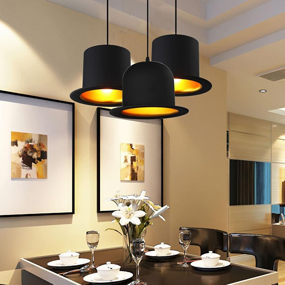 ФОТО Vintage Aluminum Pendant Light Hanging Lamps Magic Hat Shape Light  E27 110/220V Light Bulbs For Home Decor Restaurant