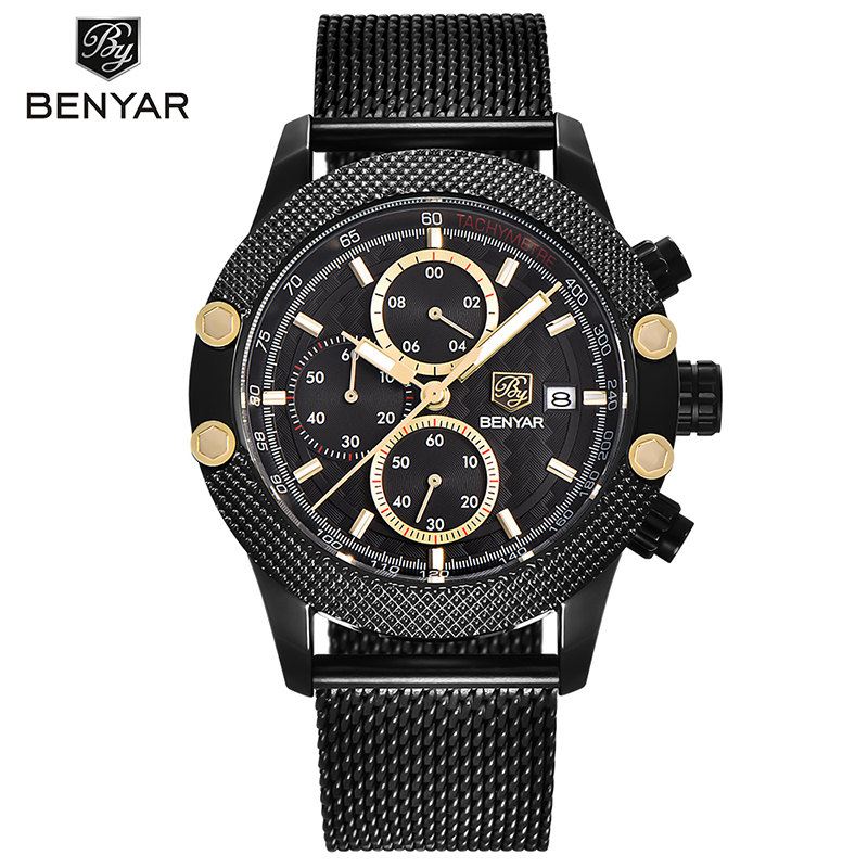 Luxury BENYAR Men s Quart Wristwatches Waterproof Chronograph Date Display Silicone Stainless Steel Mesh Straps Stylish Gift