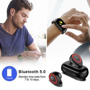 Image 4 - TWS Bluetooth 5,0 наушники, беспроводные наушники для телефона, Смарт часы с монитором сердечного ритма, настоящие Беспроводные стереонаушники, спортивные наушники