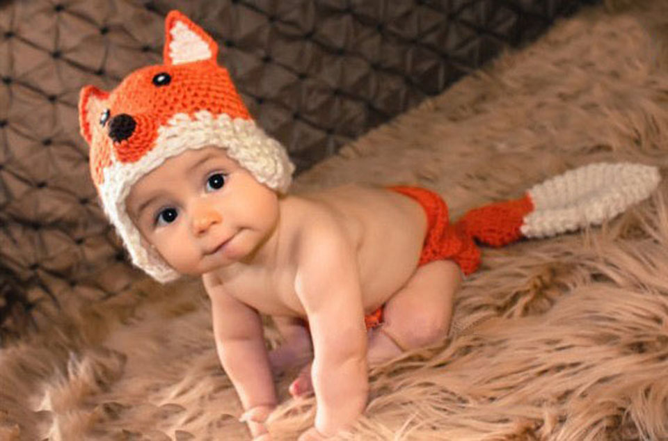 lovely fox newborn baby photography props knitted infant baby animal costume crochet baby halloween costume mzs 13054 j in hats caps from mother kids on