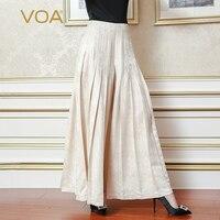 VOA 2017 Autumn Plus Size Loose Solid Beige Vintage Silk Jacquard Long Wide Leg Pants High Quality Women Skirt Pants KLH03601