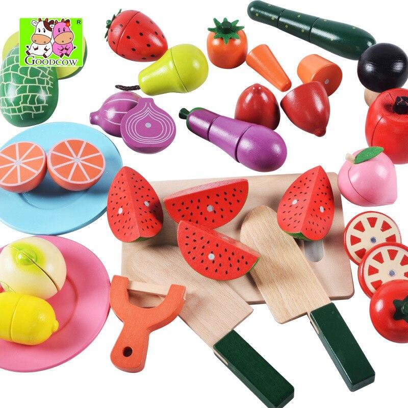 Nouvelle arrivée bébé jouets 22 pièces grand magnétique fruits/légumes alimentaire coupe ensemble en bois jouets bouteille emballage cuisine jouet enfant Bithday cadeau