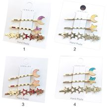 3Pcs/Set Korean Ladies Side Bangs One Word Wavy Hairpins Contrast Color Glitter Moon Star Charms Hair Clips DIY Styling Barrette