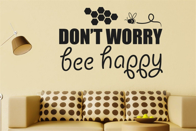 Dont Worry Bee Happy Vinyl Quote Wall Decal Sticker Wall Art Home ...