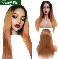 Ombre Wig Human Hair Bleached Knots Beauty Plus Dark Roots Blond Brazilian Straight Hair Pre Plucked Remy Blonde Lace Front Wig