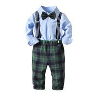 Boys Sets 2018 Baby Kids 4 Pieces Sets Cotton Cute Long Sleeved Bowtie Shirt + Plaid Pants Boys Gentleman Christmas Suits