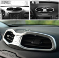FIT FOR 2015 2016 JEEP RENEGADE CHROME AIR VENT AC COVER CENTER CONSOLE INNER BEZEL TRIM DASHBOARD PANEL FRAME STYLING GRANISH